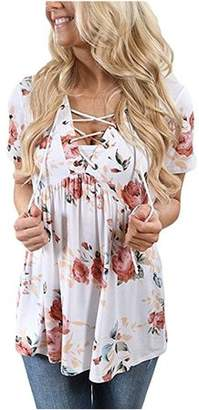 YONYWA Floral Print Deep V-Neck Blouse Lace Up Sexy Tops Tee