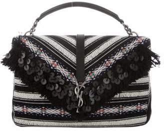 Saint Laurent Large Collà ̈ge Berber Cloth Shoulder Bag Black Large Collà ̈ge Berber Cloth Shoulder Bag