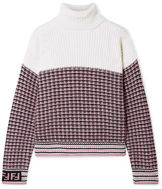 Fendi Paneled Wool And Cashmere-blend Turtleneck Sweater - Blush