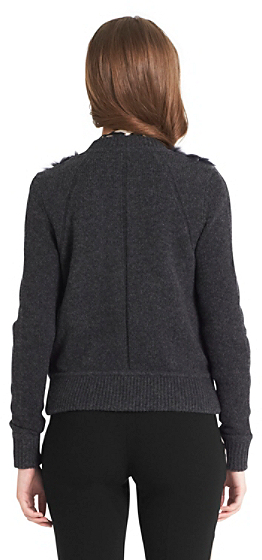 Diane von Furstenberg Cortina Fur Detail Sweater Jacket