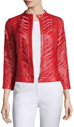 Escada Zip-Front Laser-Cut Leather Jacket $1,425 thestylecure.com