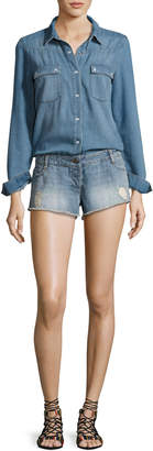 BA&SH Thomas Denim Long-Sleeve Playsuit, Light Blue