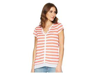 Tribal Slub Jersey Short Sleeve Top with Notch Collar Women's T Shirt
