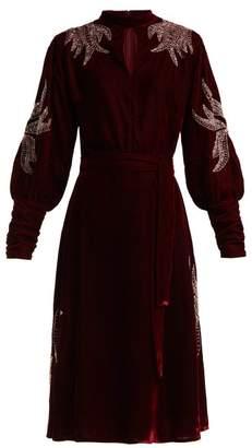 Dodo Bar Or Josephine Velvet Beaded Midi Dress - Womens - Dark Red