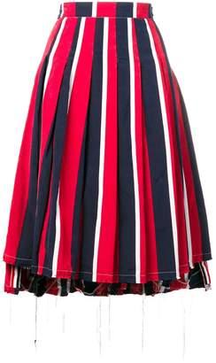 Thom Browne Wide Repp RWB Stripe Pleated Skirt