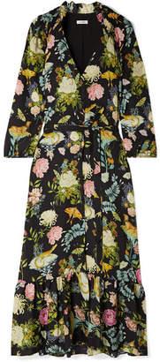 Vilshenko Olivia Floral-print Silk-jacquard Midi Dress - Black