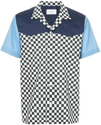 Ports V checkered and colour block print shirt