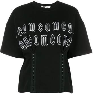 McQ repeat logo corset waist T-shirt