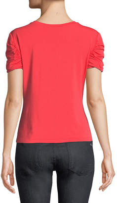 Elie Tahari Kira Ruched-Sleeve Knit Top