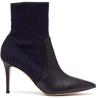 Gianvito Rossi Kathy 85 Sock Ankle Boots - Womens - Navy