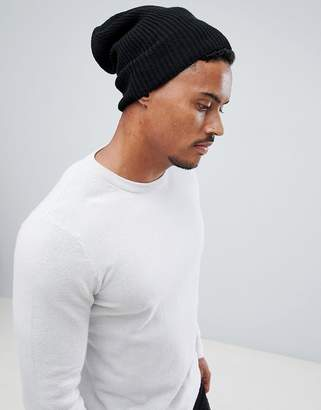 Asos Design DESIGN slouchy beanie in black recycled polyester