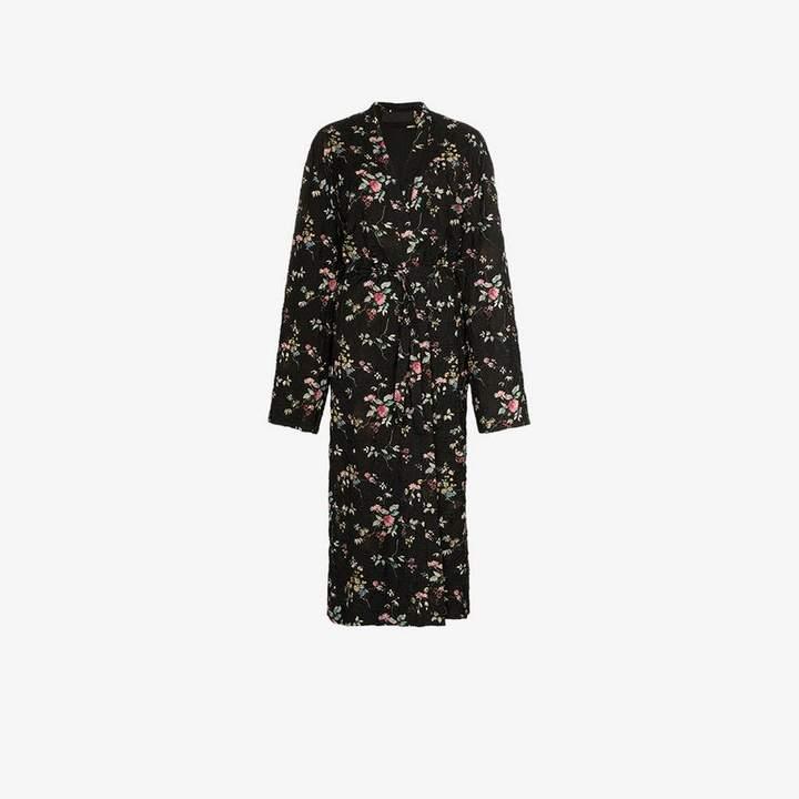 floral belted maxi coat