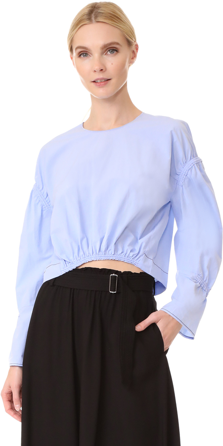 3.1 Phillip Lim 3.1 Phillip Lim Cropped Top with Piping & Gathering