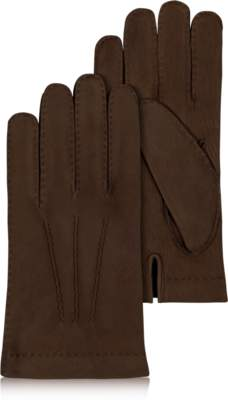 Forzieri Men's Cashmere Lined Dark Brown Italian Calf Leather Gloves