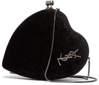 Saint Laurent Love Box Velvet Minaudiere Cross Body Bag - Womens - Black
