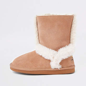 River Island Girls beige suede fur lined ankle boots