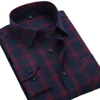CATERTO Mens Long Sleeve Plaid Flannel Casual Shirts Checked Button Down Shirts L