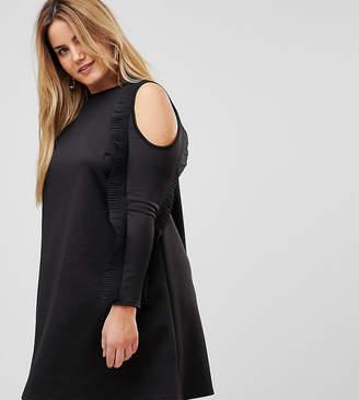 Club L Plus Ruffle Cold Shoulder A-line Dress