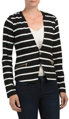 Striped Floral Lined Knit Blazer