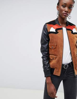 Muu Baa Muubaa Rodeo western suede and leather bomber jacket