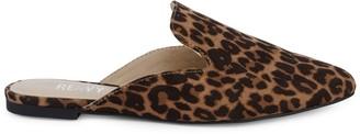 RENVY Maggie Leopard-Print Faux Suede Mules