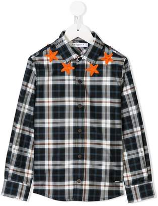 Givenchy Kids star patches plaid shirt
