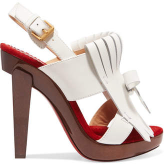 Christian Louboutin - Soclogolfi 120 Fringed Leather Platform Sandals - White $1,245 thestylecure.com