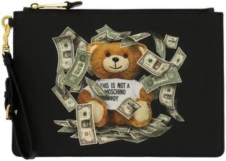 Moschino Clutch Clutch Bag In Synthetic Leather With Teddy Dollar Print