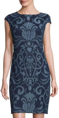 Julia Jordan Embroidered-Lace Sheath Dress, Denim $119 thestylecure.com