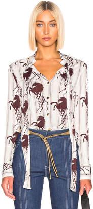 Chloé Horse & Stripe Print Top in White & Brown | FWRD