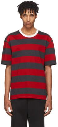 Maison Margiela Red and Grey Stripe Shirt