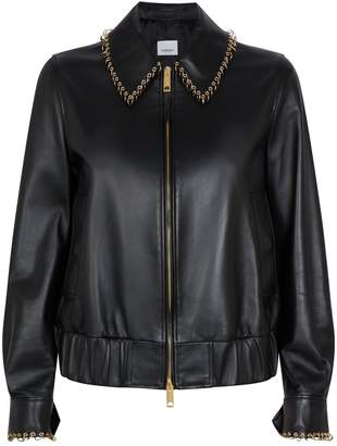 Burberry Ring-Pierced Leather Jacket
