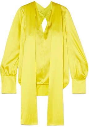 Petar Petrov Draped Open-back Silk Blouse - Chartreuse