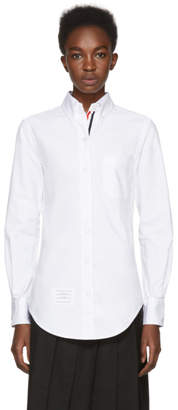 Thom Browne White Grosgrain Classic Button-Down Point Collar Shirt