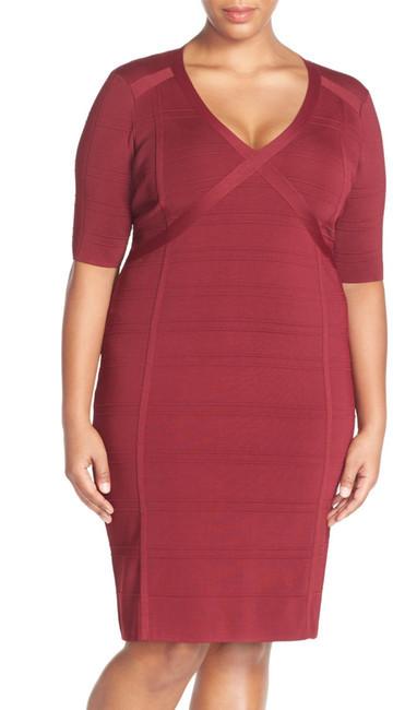 Adrianna Papell V-Neck Sweater Knit Sheath Dress (Plus Size)