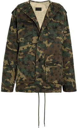 Hooded Camouflage-print Cotton-canvas Parka - Army green