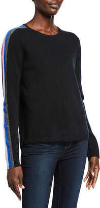 LISA TODD The Racer Cashmere Sweater w/ Striped Sleeves