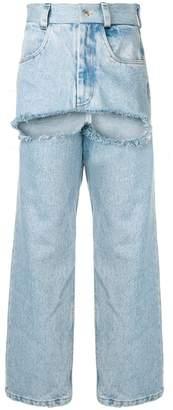Seen ripped wide leg jeans