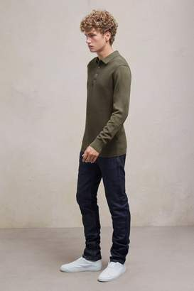 French Connenction Textured Knit Long Sleeved Polo Shirt
