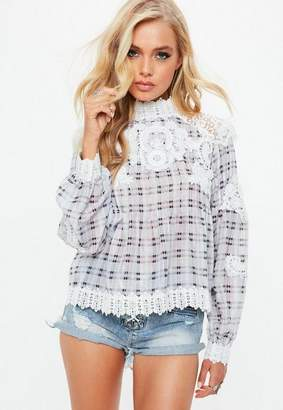 Missguided Gray Crochet High Neck Plaid Blouse