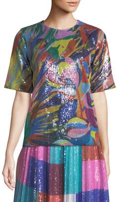 Mary Katrantzou Short-Sleeve Crewneck Paint-Splash Sequin Top