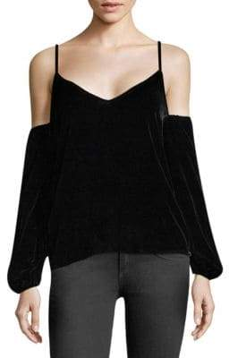 Koral Velvet Cold-Shoulder Top