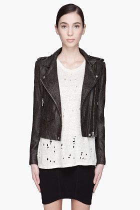 IRO Black and khaki leather Jeff biker jacket
