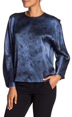 Vince Marbled Silk Dolman Sleeve Blouse