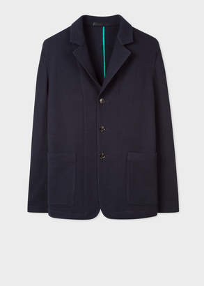 Paul Smith Men's Dark Navy Casual Knitted Wool Blazer