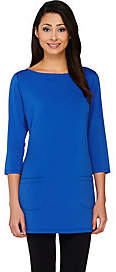 Joan Rivers Classics Collection Joan Rivers 3/4 Sleeve Long Tee Shirt withPatch Pockets
