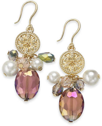 Charter Club Gold-Tone Coin, Bead & Imitation Pearl Drop Earrings, Created for Macy's