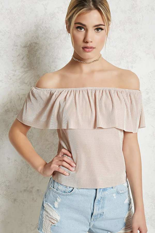 FOREVER 21+ Off-the-Shoulder Flounce Top