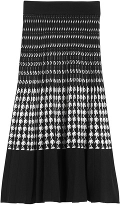 Banana Republic Petite Houndstooth Pleated Knit Midi Skirt