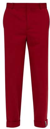 Y/Project Roll Up Cuff Wool Blend Trousers - Mens - Red
